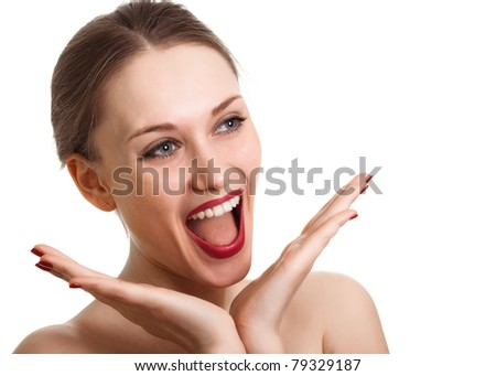Surprised excited woman screaming amazed in joy. Isolated on white - stock photo