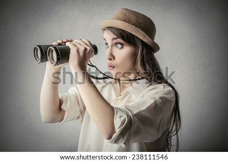 Surprised explorer  - stock photo