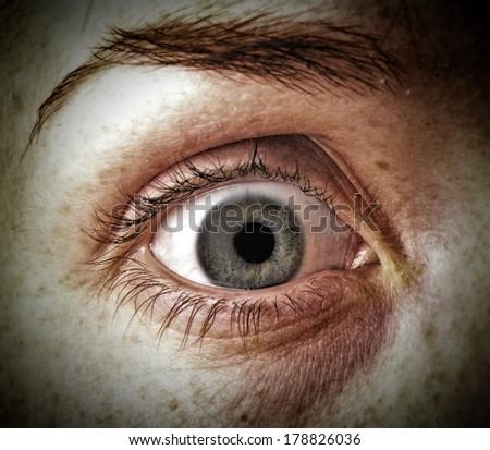 Surprised eye, scared woman eye - stock photo