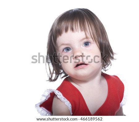 Surprised girl in red t-shirt isolated on white background