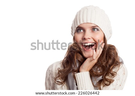 Surprised Girl.Winter woman isolated on white background. - stock photo