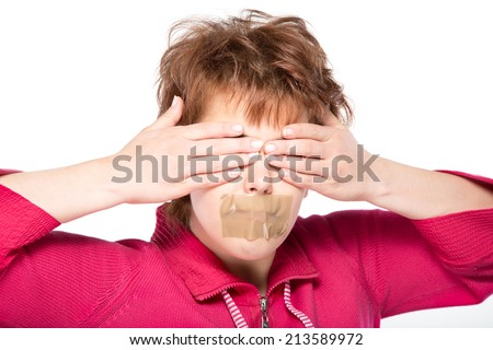 surprised girl with cover eyes and self-adhesive tape over her mouth, over white background