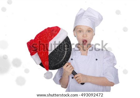 Surprised girl with frying pan and Santa hat on white background with snow