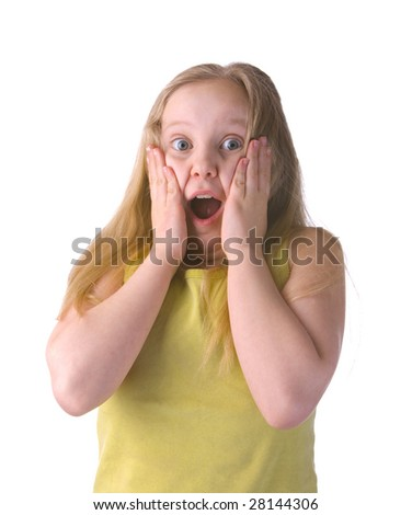 Surprised girl with hands on fast isolated on a white background - stock photo