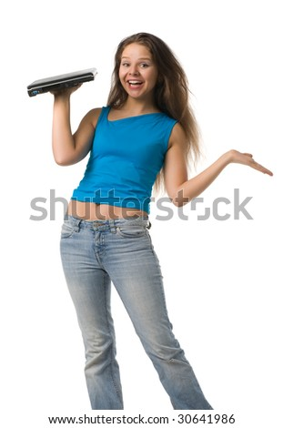 surprised girl with long hair holds the laptop on one hand, isolated on white