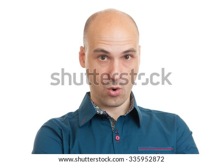 surprised handsome bald man isolated on white background - stock photo