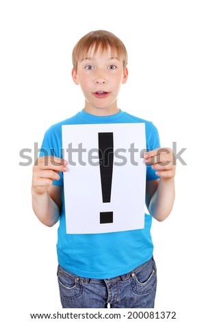 Surprised Kid holds a sheet with Exclamation Mark Isolated on the White Background - stock photo