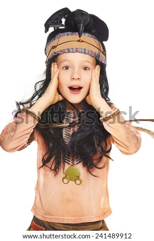 Surprised little boy in a suit of the indian, on a white background - stock photo