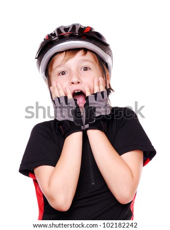 Surprised little cyclist  screaming