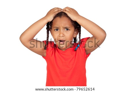 Surprised little girl with hands on head isolated on a over white - stock photo