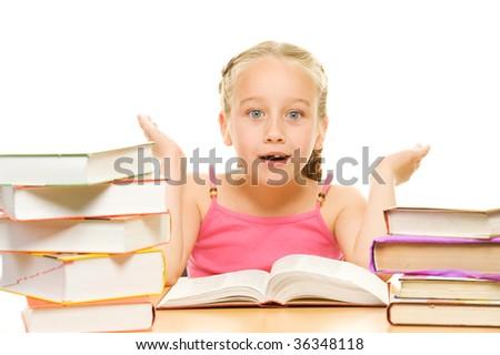 Surprised little schoolgirl - stock photo