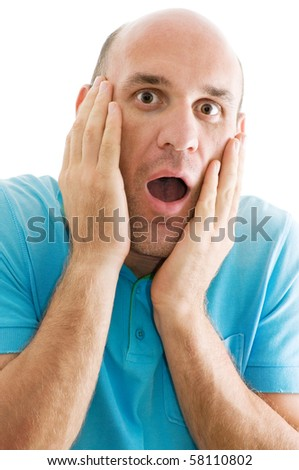 surprised man isolated - stock photo