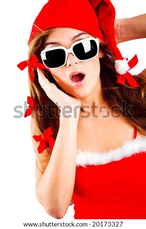 Surprised mrs. Santa isolated on white background