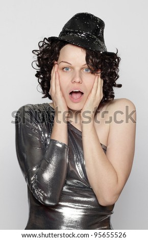 surprised party girl - stock photo
