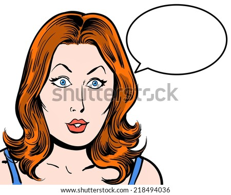 Surprised redhead beauty comic pop character with speech bubble and white background - stock photo
