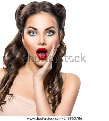 Surprised Retro woman portrait. Beauty vintage excited girl open mouth, isolated on white background. Proposing a product. Emotions. Gestures for advertisement. - stock photo