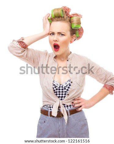 Surprised / sad or unhappy housewife or woman, isolated on white - stock photo