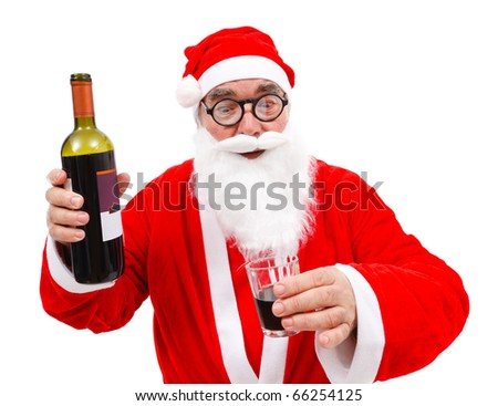 Surprised Santa Claus with wine bottle and glass in hand