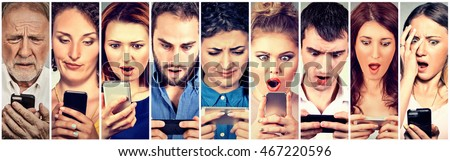 Surprised shocked group of people men women texting on smart phone