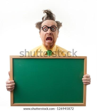 Surprised teacher with the blackboard - stock photo