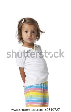 Surprised toddler girl on white background