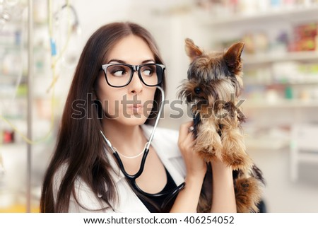 Surprised Veterinarian Female Doctor with Cute Dog - Confident veterinary physician consulting cute pet animal  - stock photo