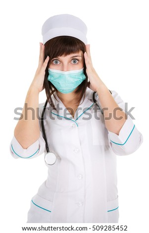 surprised woman doctor or nurse  in mask, isolated on white background