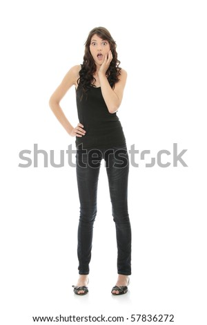 Surprised woman isolated on white - stock photo