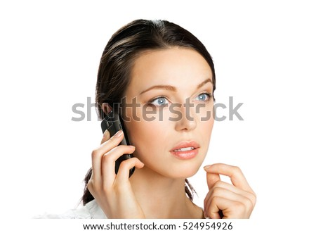 Surprised young businesswoman with cell phone, isolated on white background