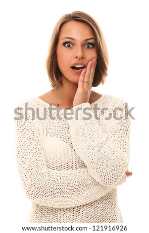 Surprised young girl portrait over a white background - stock photo