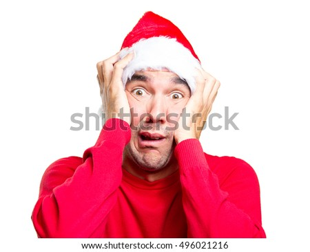 Surprised young man in Christmas