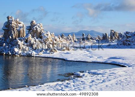 Surprising formations of Mono Lake. Sierra Nevada Mountains, California, USA - stock photo