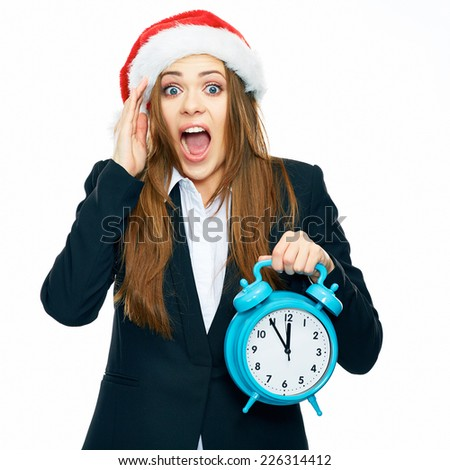 Surprising, shocked business woman hold big watch. Emotional portrait in Christmas style of young business woman isolated on white background. - stock photo