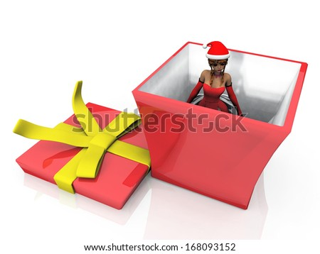 Surprising woman in the Christmas gift box - stock photo