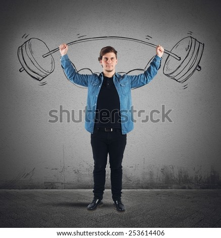Surprisingly strong guy lifts weights with dumbbell - stock photo