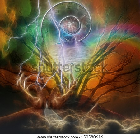Surreal artisitc image with time spiral - stock photo