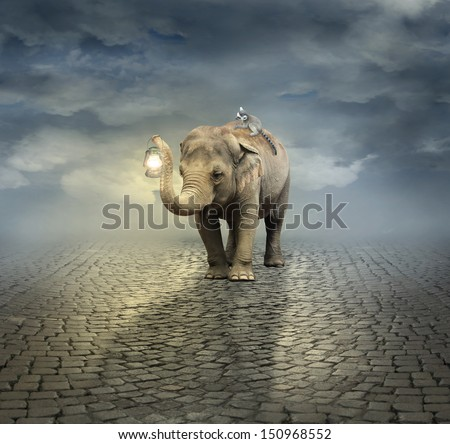 Surreal artistic illustration with an elephant carrying a lemur on its back and a lantern with its trunk - stock photo