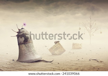Surreal artistic image of a sand snake house  - stock photo