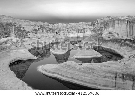 Surreal black and white landscape in Reflection Canyon, Lake Powell, Utah, USA. - stock photo