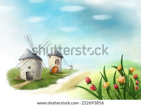 Surreal cartoon wonderland country village, romantic fairy tale landscape with windmills and flowers. Illustration. - stock photo