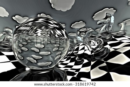 Surreal Chess board Landscape in Black and White - stock photo