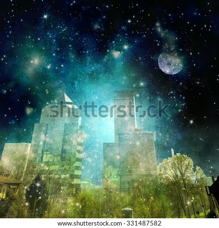 Surreal city skyline in the night with starry sky - stock photo