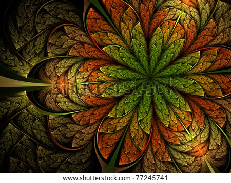 Surreal colorful and bright jungle flower - stock photo