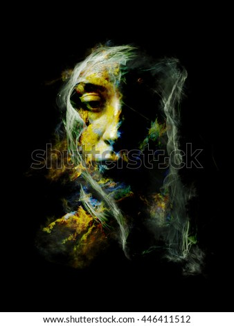 Surreal Dust Portrait series. Composition of fractal smoke and female portrait on the subject of spirituality, imagination and art - stock photo