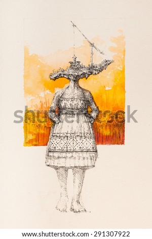Surreal hand drawing, girl with fountain decorative artwork   - stock photo
