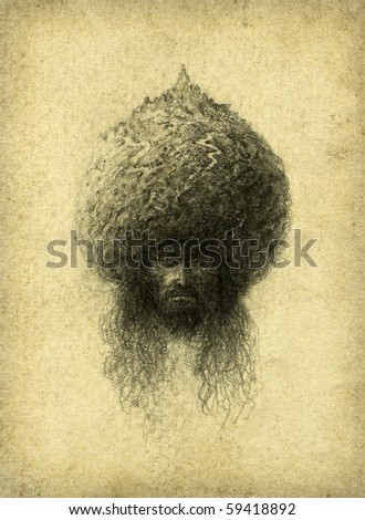 Surreal head. Pencil on paper. - stock photo