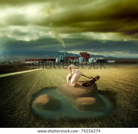 surreal image of ecosystem and pollution concept - stock photo