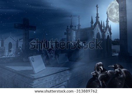 Surreal image with old cemetery, european crows and other elements related to halloween - stock photo