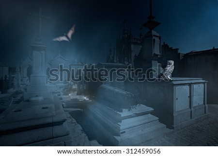 Surreal image with several ominous birds and other elements related to halloween