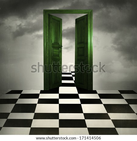 Surreal imagine with a green opened door chessboard floor and cloudy sky in the background - stock photo